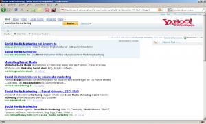 """Mit Keyword """"social media marketing"""" auf der eins bei Yahoo! Deutschland"""