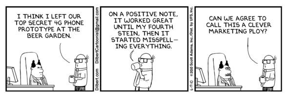 Dilbert Comic #2 zum verlorenen Apple iPhone 4G