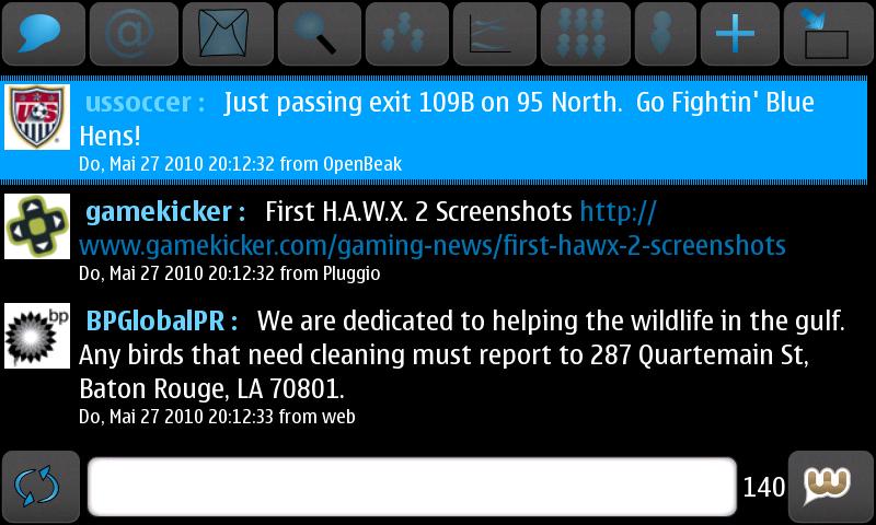 Witter Nokia N900 Twitter Client Screenshot
