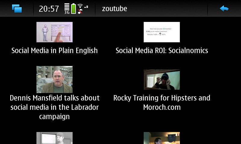 Screenshot von zoutube YouTube Nokia N900 Client