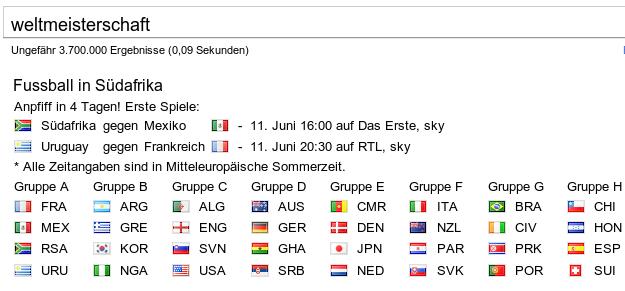 Google Feature für die Fussball Weltmeisterschaft 2010 in Südafrika
