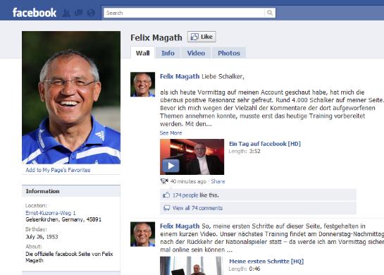 Felix Magath auf Facebook