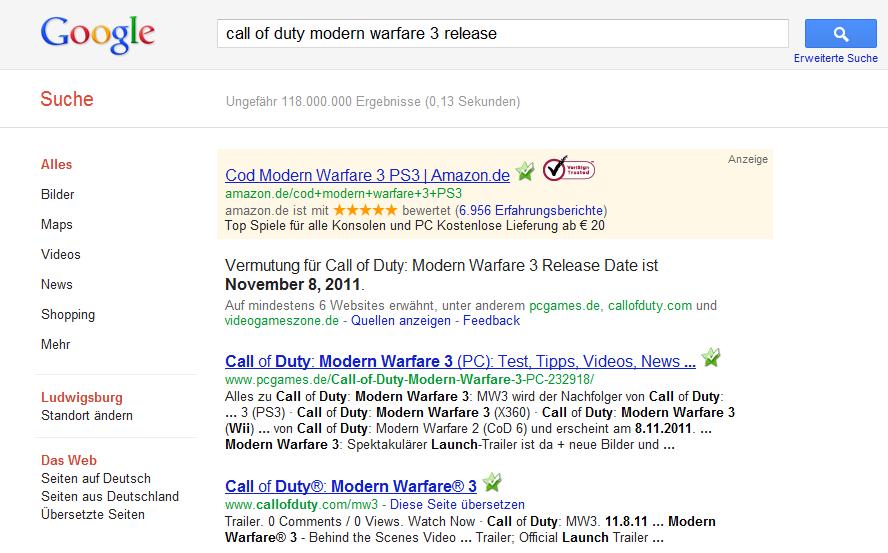 Google vermutet Antwort auf Suchanfrage